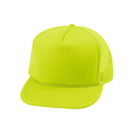 5 Panel Neon Color Poly Mesh Cap - Neon Yellow