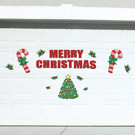Festive Holiday Merry Christmas Garage Door Decoration 25 Piece Magnets Set - Homemade Garage Door Halloween Decorations