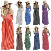 Women Maxi Dresses -Senfloco Casual Sundresses Striped Long Tunic Dress 3/4 Sleeve Summer Beach Dresses with Pockets