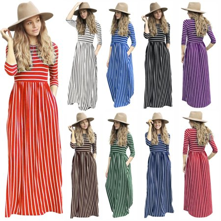 Women Maxi Dresses -Senfloco Casual Sundresses Striped Long Tunic Dress 3/4 Sleeve Summer Beach Dresses with Pockets