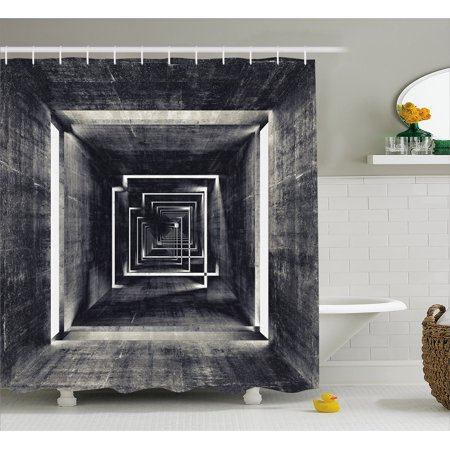 Dark Grey Shower Curtain Architecture Perspective Tunnel Interior Grungy Corridor Construction Fabric Bathroom Set