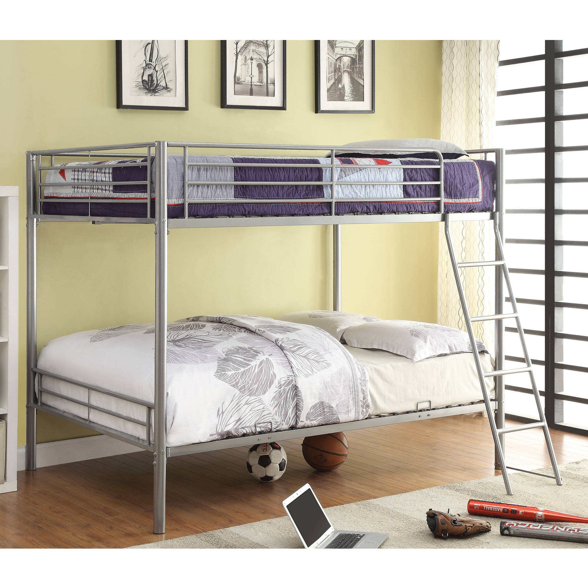 Coaster Full/Full Bunk Bed in Silver Finish