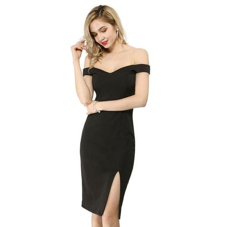 Unique Bargains Women's Off Shoulder Sweetheart Neck Slit Bodycon Party Midi Dress