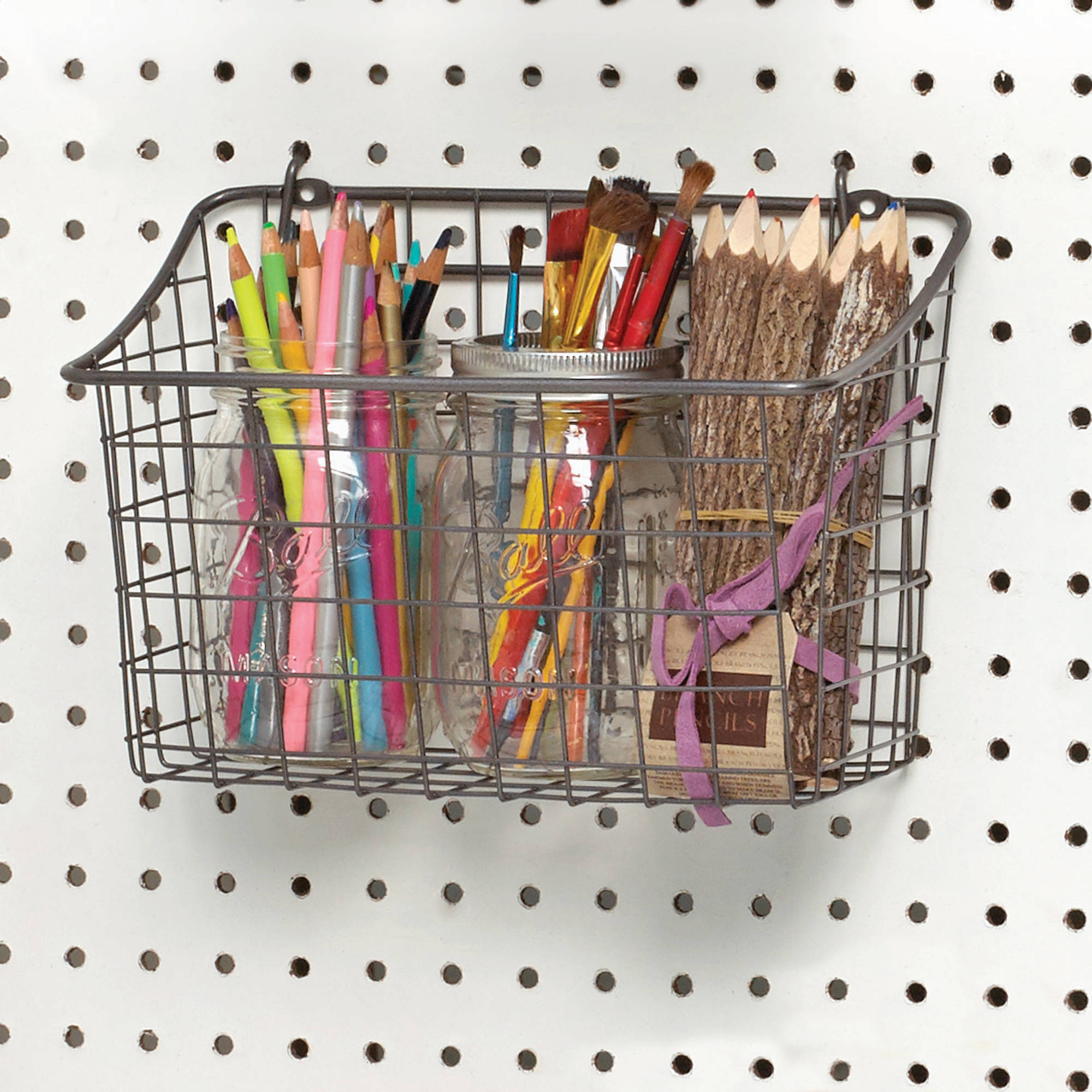 Spectrum Pegboard and Wall Mount Basket, Industrial Gray, Large