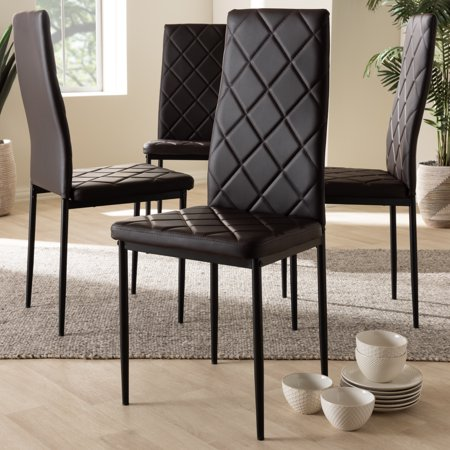 Set of 4 Baxton Studio Blaise Modern and Contemporary Brown Faux Leather Upholstered Dining Chairs
