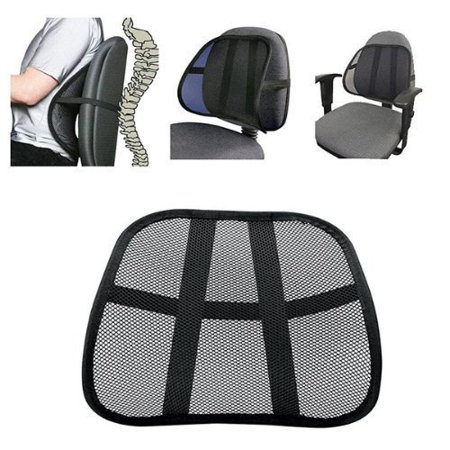 Black Mesh Lumbar Support System Back Cushion Breathable Multi Use Extra Comfortable Fit All Types Office Chair Car Seat Perfect Solution
