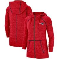 New England Patriots Nike Women's Gym Vintage Raglan Full-Zip Hoodie - Heathered Red