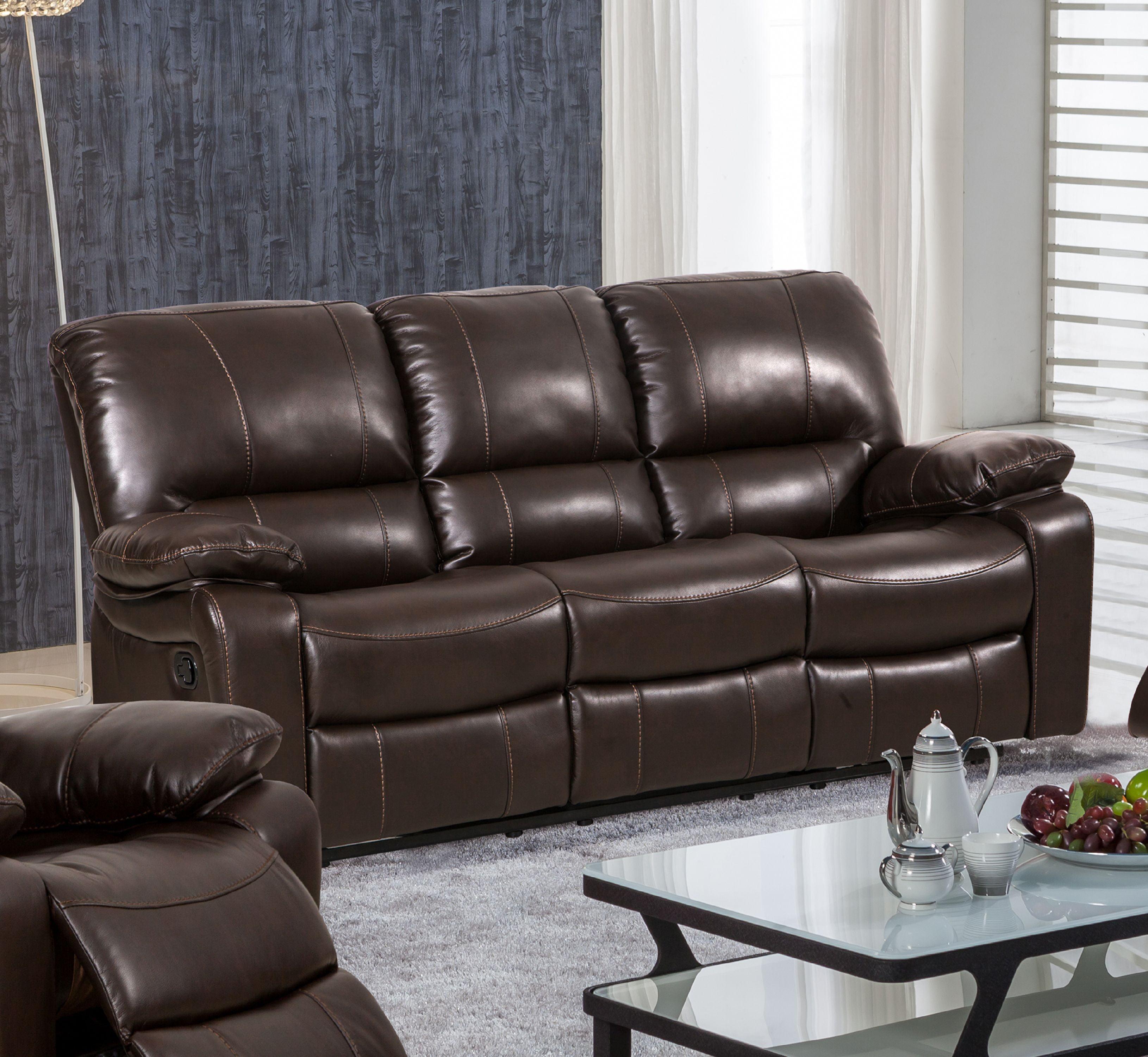 Evelyn Leather Gel Reclining Sofa, Dark Brown
