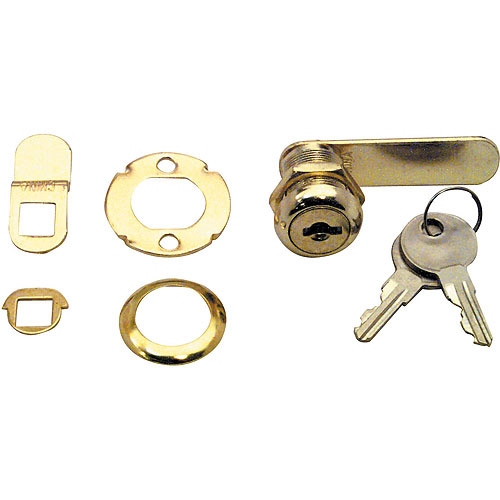 Prime Line Products U9944 Brass Drawer and Cabinet Lock, 7/8""