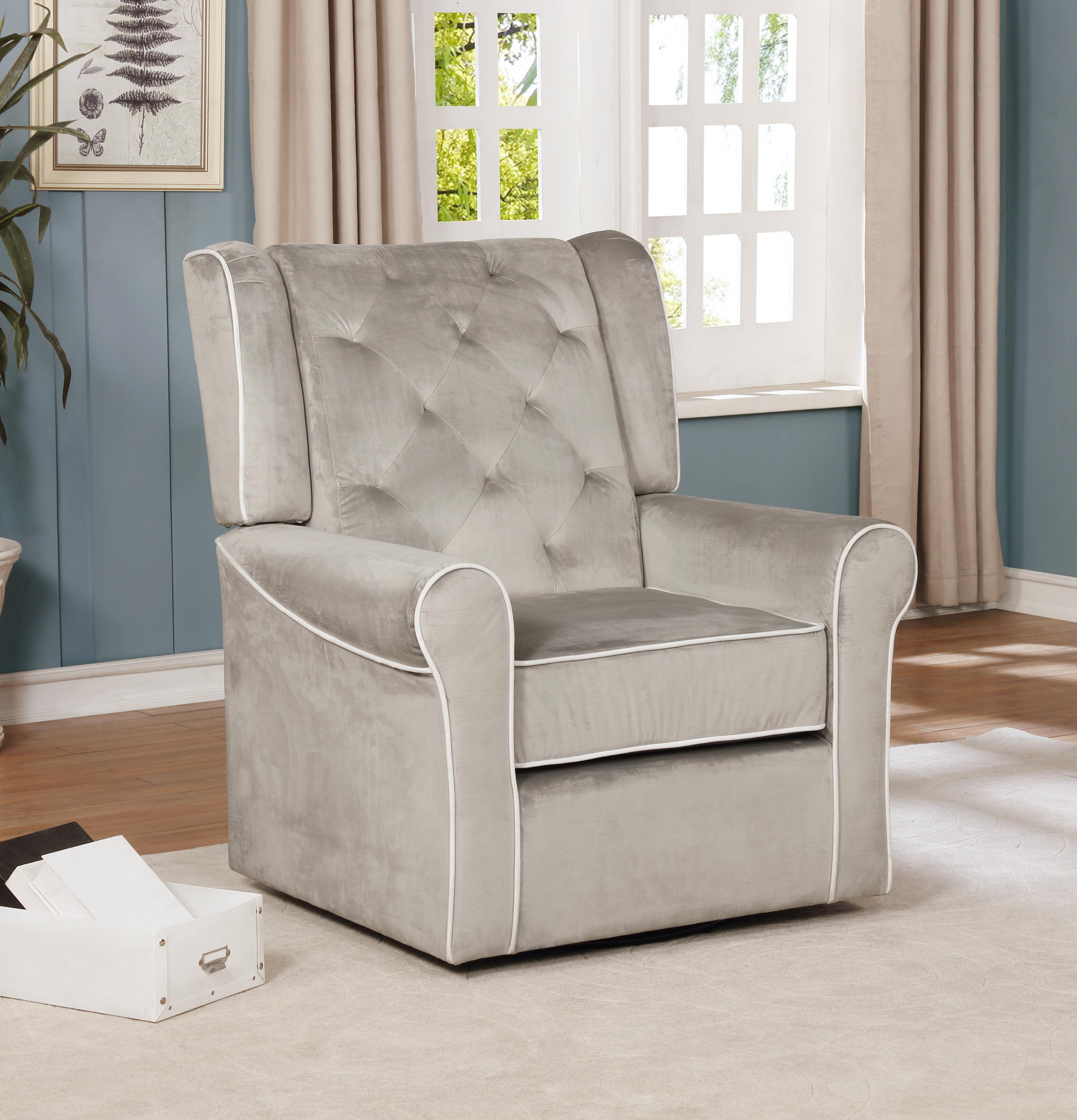 Sophia Swivel Glider-Color:Gray,Fabric:Microfiber