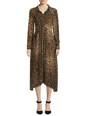 Scoop Women's Leopard Print Midi Shirt Dress