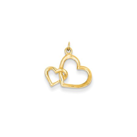 14k Yellow Gold Double Heart Pendant Charm Necklace Love Fine Jewelry For Women Gift Set