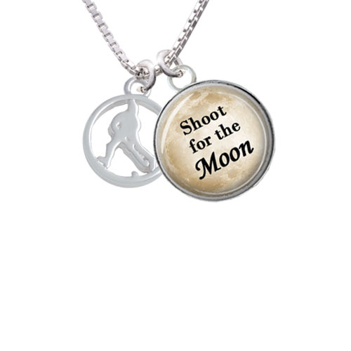 """Field Hockey Player Silhouette in 1/2'' Disc Shoot for the Moon Glass Dome Necklace, 18""""+2"""""""