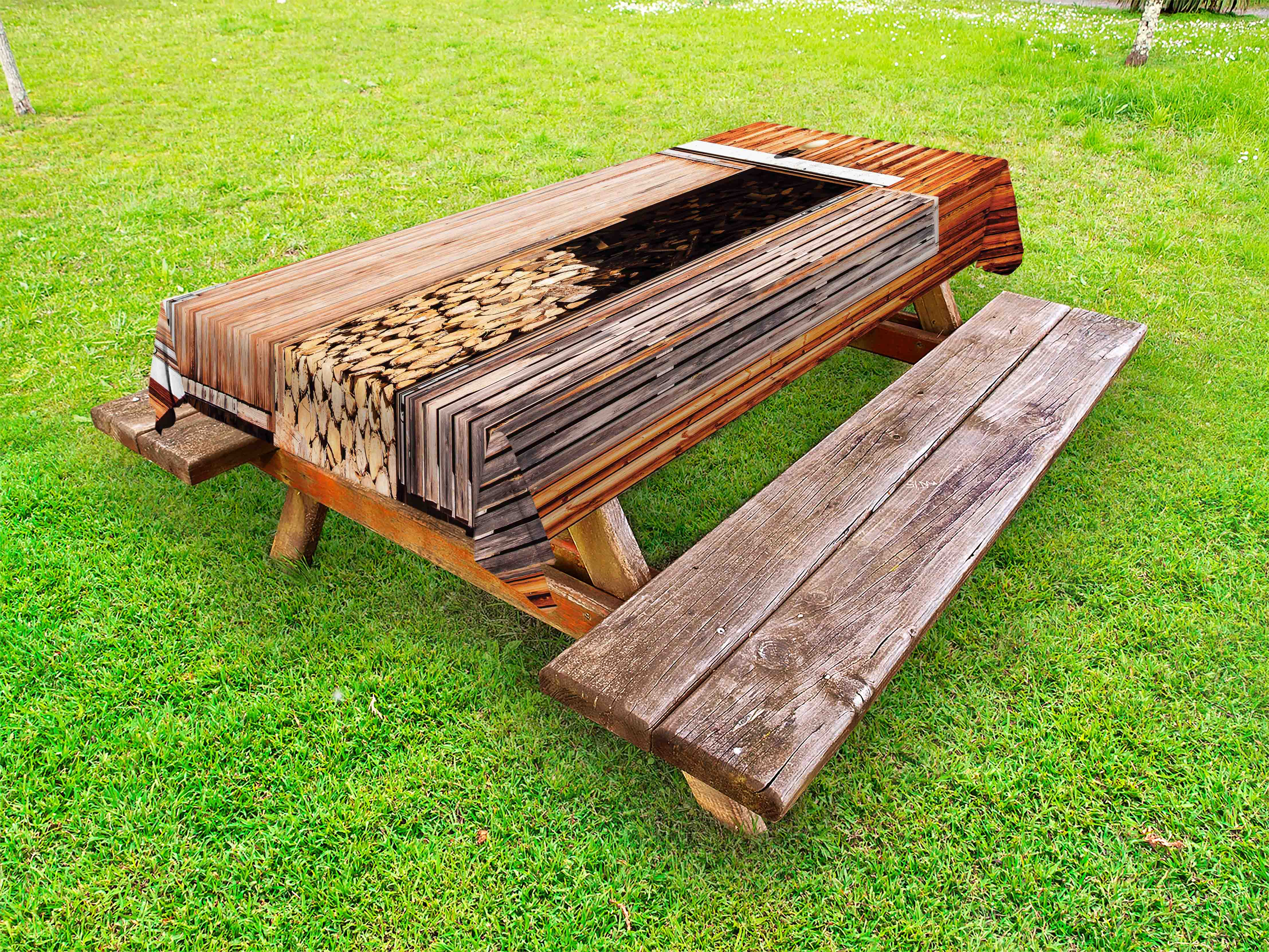 Rustic Outdoor Tablecloth, Rustic Barn With Firewood Countryside Village  Storage Garden Rural Life Concept,