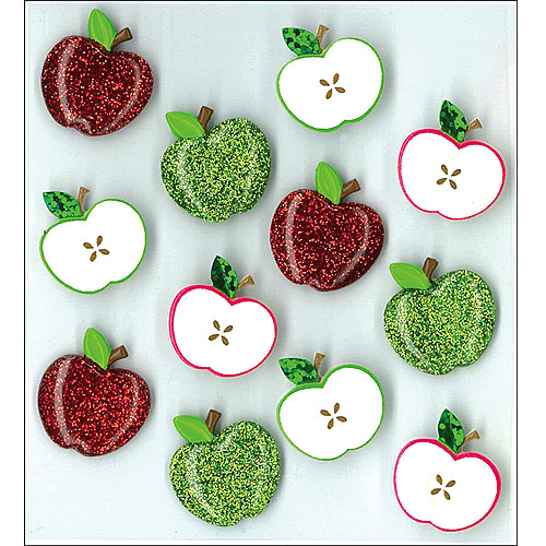 Jolees Boutique Cabochons Dimensional Stickers, Cute Apple Multi-Colored
