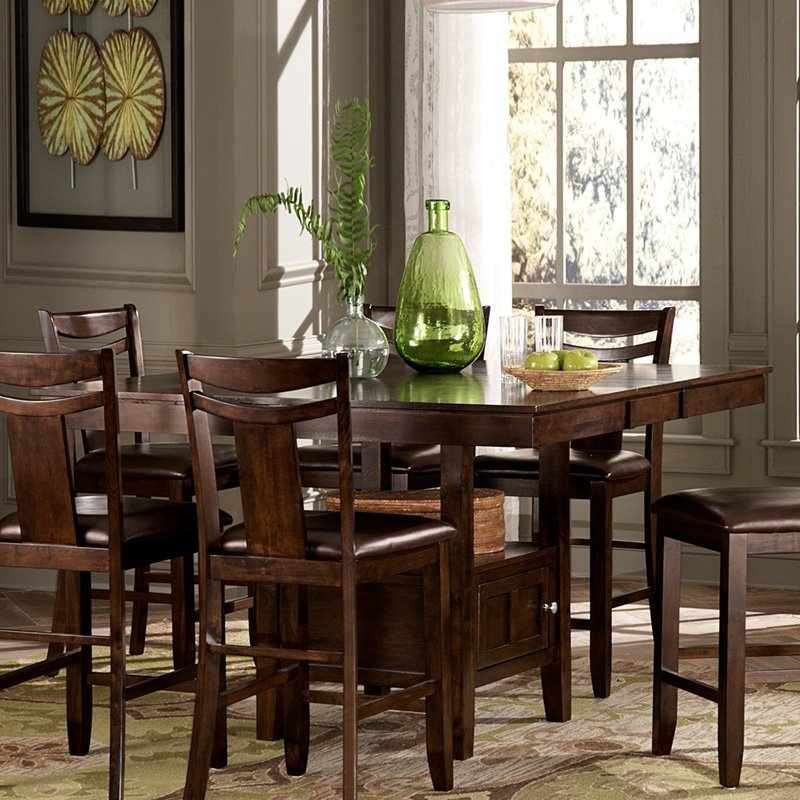 Weston Home Broome Expandable Storage Counter Height Dining Table   Dark  Brown