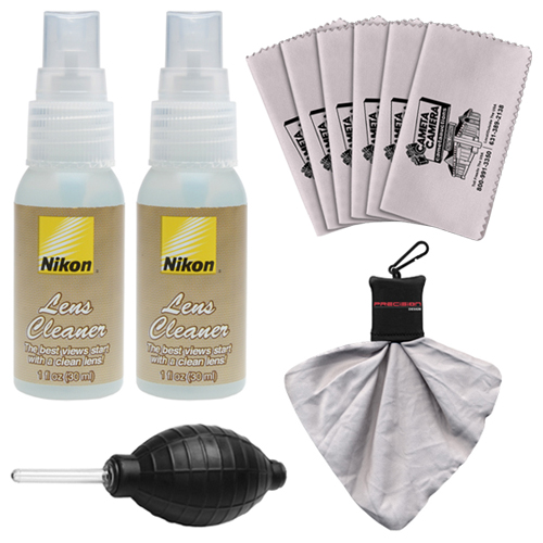 (2) Nikon Lens Cleaner Fluid Spray Bottles + Blower + 6 Microfiber Cleaning Cloths for D3100, D3200, D5100, D5200, D600, D800, D4 Digital SLR Cameras