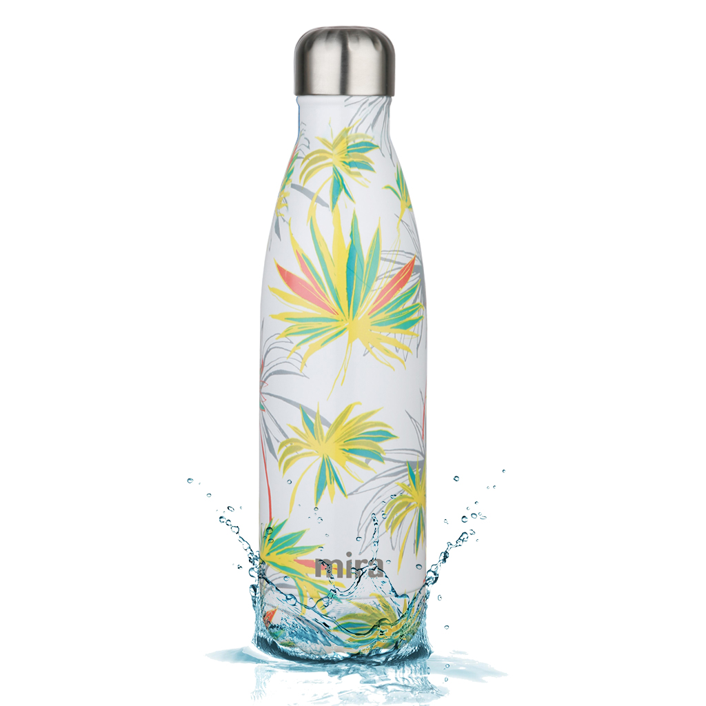 MIRA Vacuum Insulated Travel Water Bottle | Leak-proof Double Walled Stainless Steel Cola Shape Portable Water Bottle | No Sweating, Keeps Your Drink Hot & Cold | 17 Oz (500 ml) | White Palm
