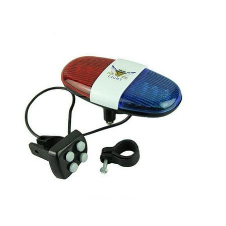 Police Car Bike Light/Bell - 6 LED Light and 4 Sounds