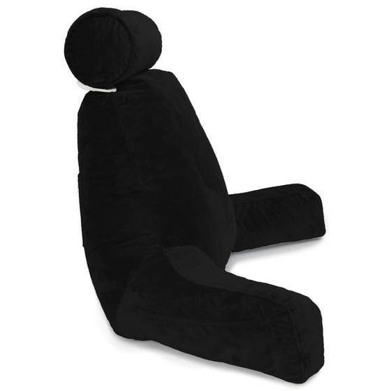 husband pillow bedrest reading support bed backrest with arms black shredded foam reading. Black Bedroom Furniture Sets. Home Design Ideas