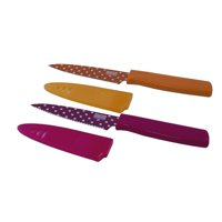 Colori Art Paring Knife with Straight Edge/Orange and Serrated Edge/Pink Polka Dot, Set of 2, Carbon steel blade By Kuhn Rikon