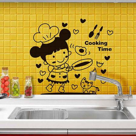 babydream1 Cartoon Little Girl Cooking Wall Decals Restaurant Kitchen PVC Waterproof Sticker Home Shop Removable Wallpaper - image 4 de 9
