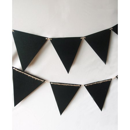 Quasimoon Chalkboard Sign Triangle Flag Pennant Banner Decoration (11FT) by PaperLanternStore