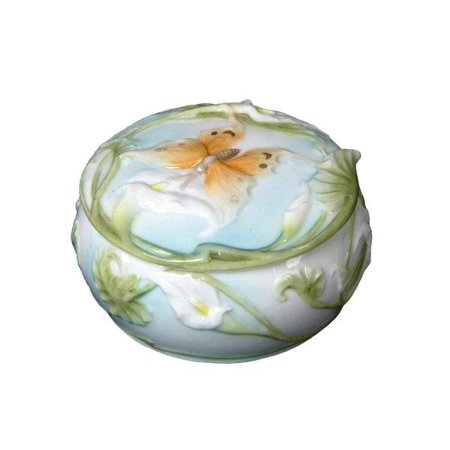 3.5 Inch Ceramic Style Trinket Box with Butterfly Calla Motif ()