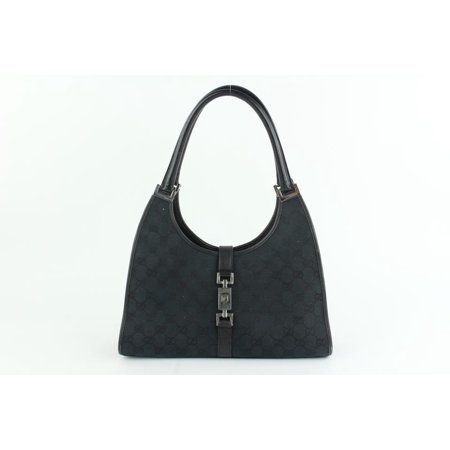 f297940b7def Gucci - Jackie Bardot Monogram Gg Hobo 8gz1025 Black Canvas Shoulder ...