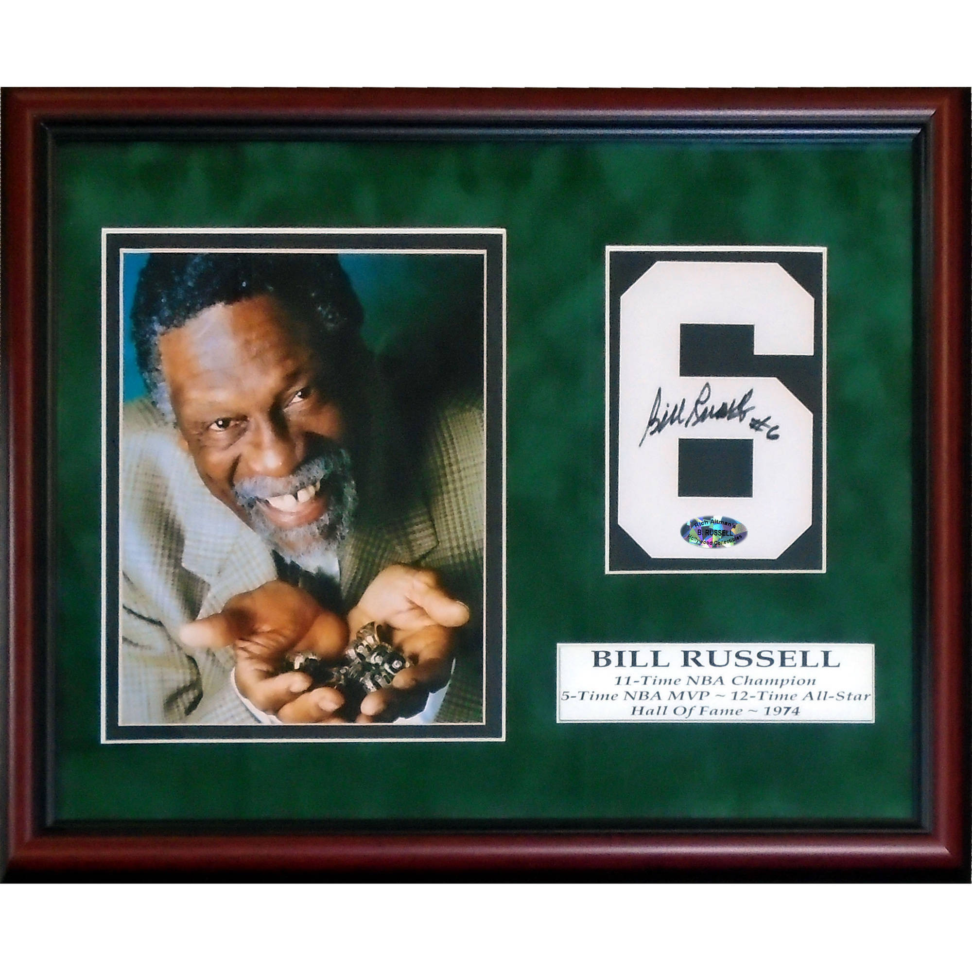 Bill Russell Autographed Jersey Number and 8 x 10 Photo Framed