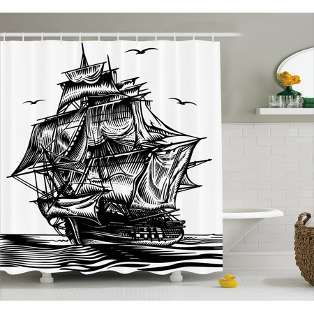 Pirate Ship Shower Curtain Nautical Line Art Style Illustration With Vintage Sailboat On Exotic Waters