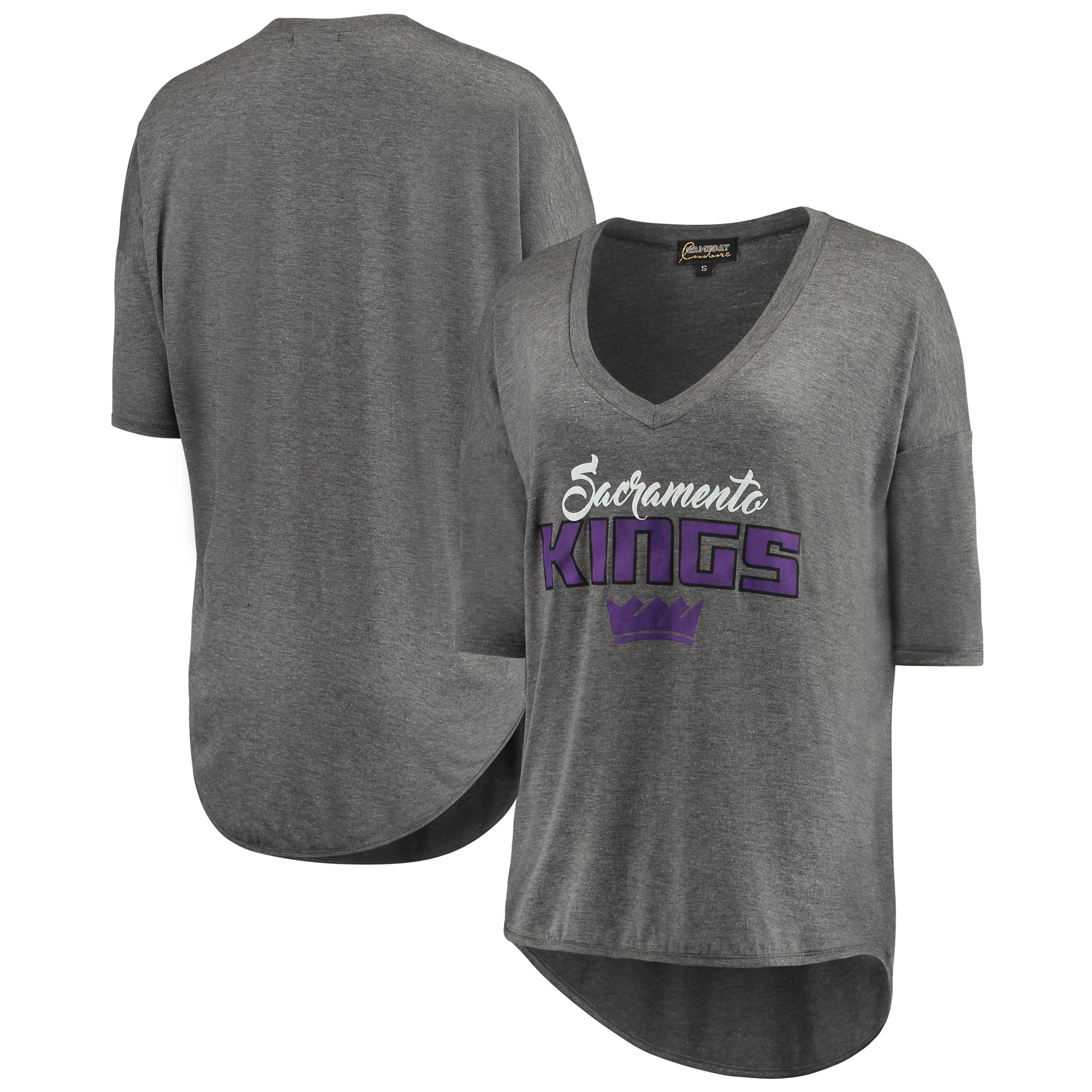 Sacramento Kings Women's Deep V-Neck Tri-Blend Half-Sleeve T-Shirt - Gray
