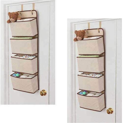 Delta Children 4-Pocket Hanging Wall Organizer, 2-Pack Value Bundle