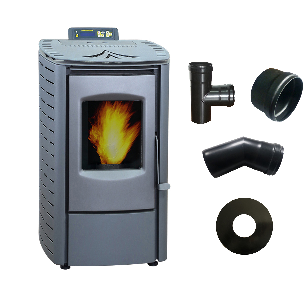 Pellet Stove with Stove Pipe,Wood Burning Stove for Home,TUV Certificated
