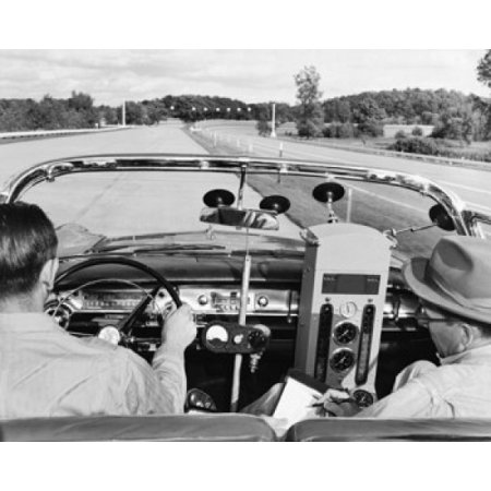 Rear view of two men driving a vintage car with equipment to measure the fuel consumption Canvas Art - (18 x 24)