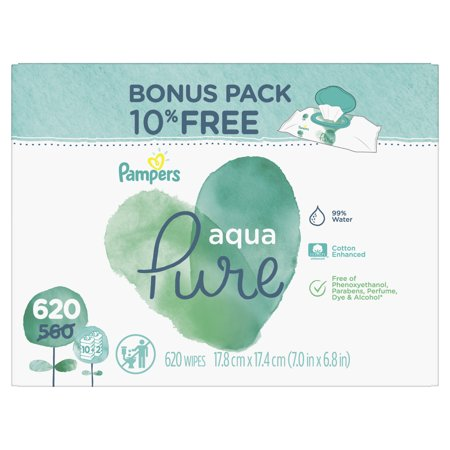 Pampers Aqua Pure Sensitive Baby Wipes 10X Bonus Pop-Top 620