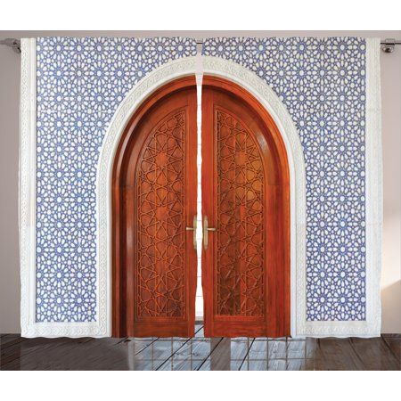 Moroccan Curtains 2 Panels Set, Antique Wooden Door of Asian Architecture  with Star Form Oriental - Moroccan Curtains 2 Panels Set, Antique Wooden Door Of Asian