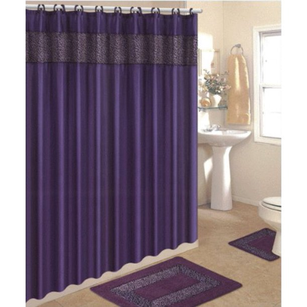 Piece Purple Leopard Bathroom Rugs