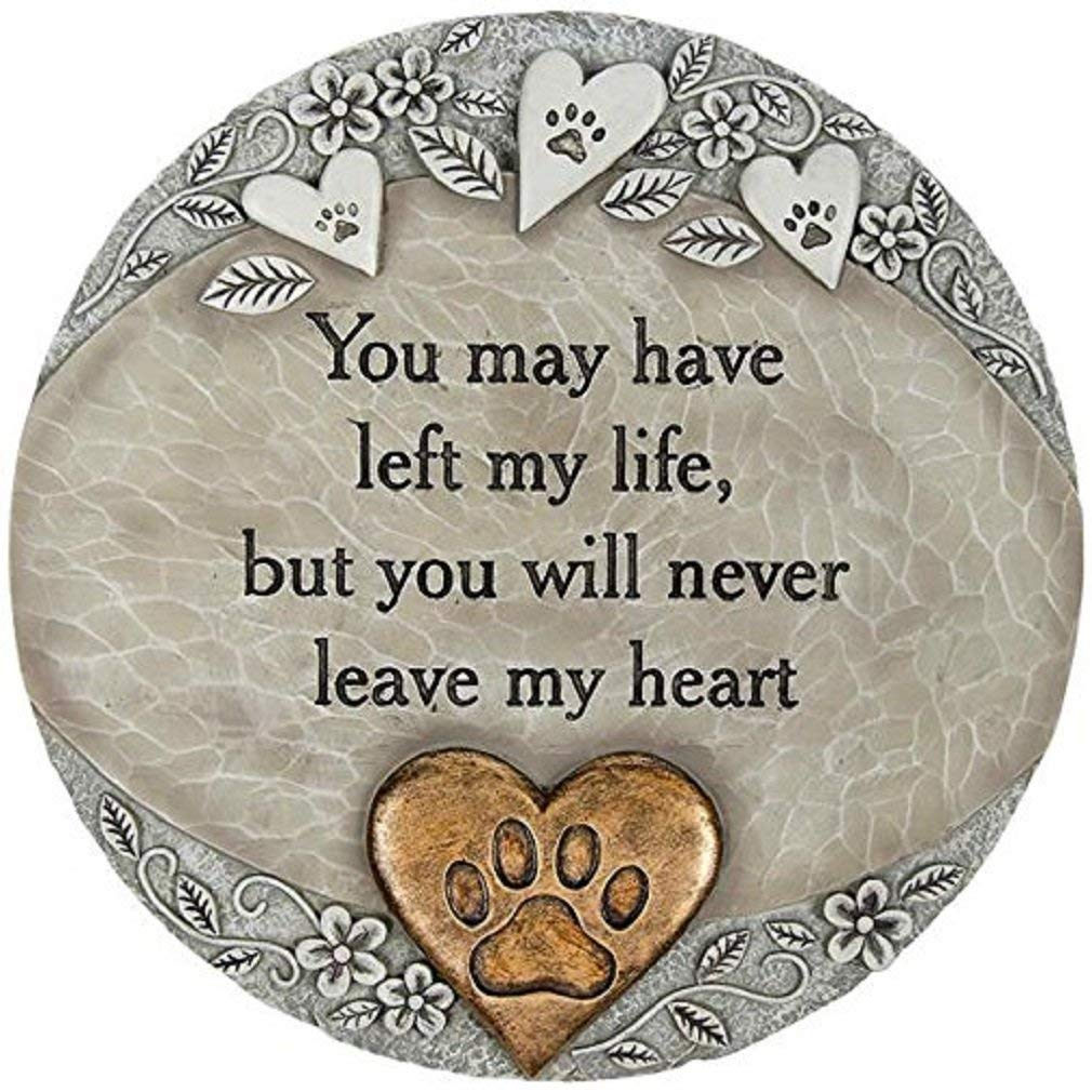 "10"" Stone Gray and Bronze-tone Pet Heart Garden Stepping Stone by CC Outdoor Living"
