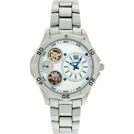 Elgin Mens Silver Tone Round Case White And Silver Dial Semi Automatic Bracelet Watch