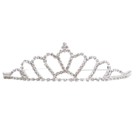 Marabou Tiara Crown (Simplicity Pageant Queen Tiara Crown Rhinestones Crystal Bridal Wedding, 983)