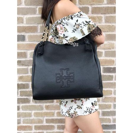 364efc3ec879 Tory Burch Harper Leather Large Tote Satchel Handbag Black Gold Chain Bombe  - Walmart.com