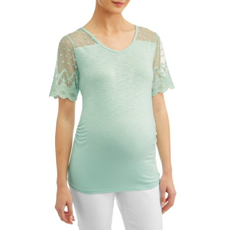 Maternity Short Sleeve Top with Lace Yoke & Sleeves