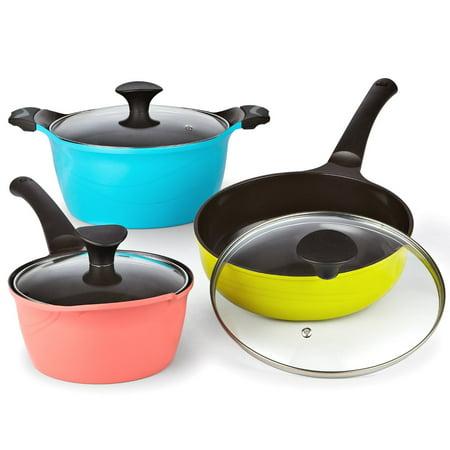Cookware Cast - Cook N Home 6-Piece Nonstick Ceramic Coating Die Cast Cookware Set, Multicolor