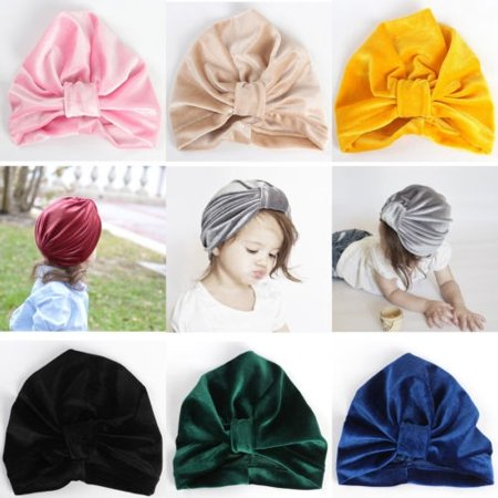 Velvet Turban - Girl Baby Bow Beanie Cap Toddler Infant Velvet Turban India Hat Hair Accessories