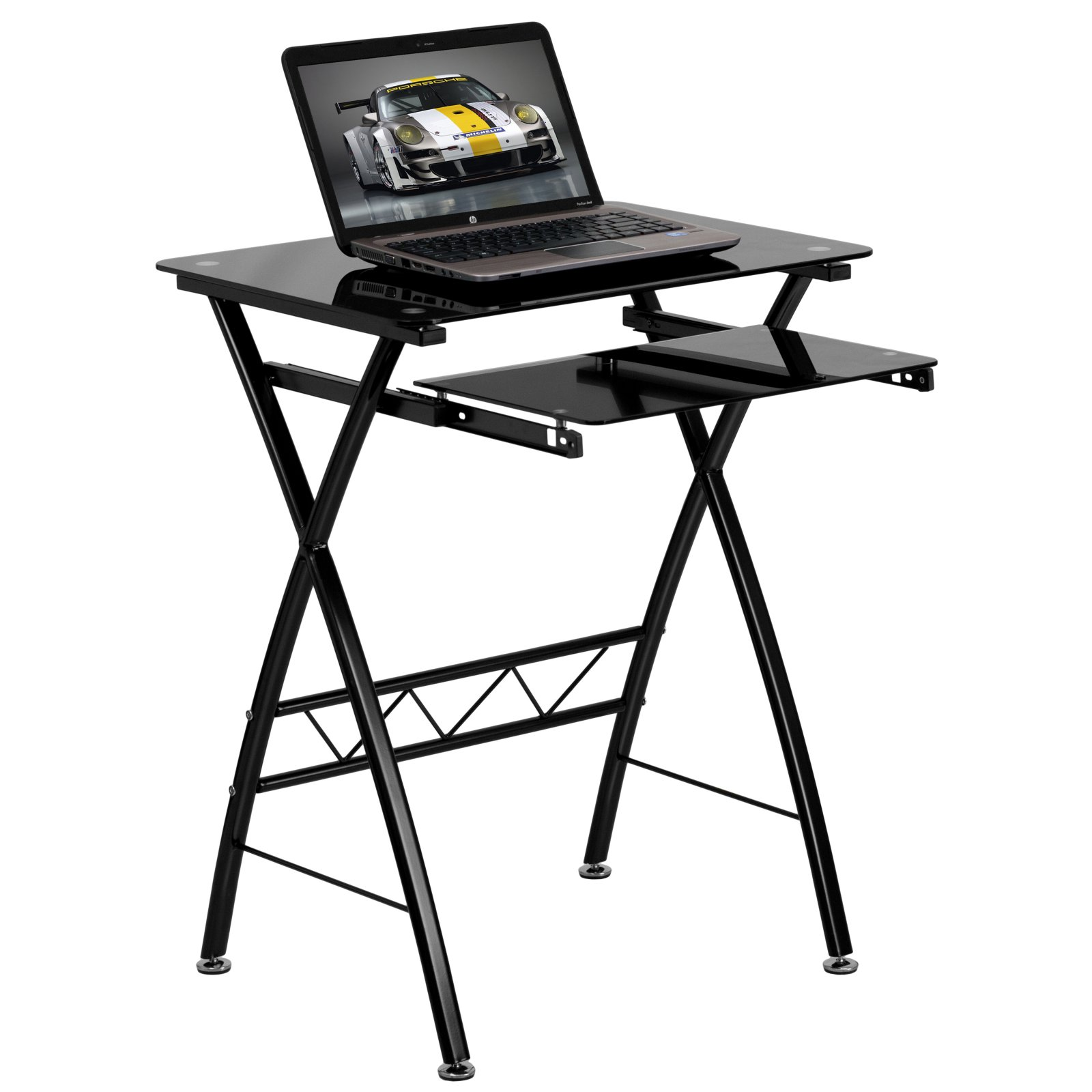 Flash Furniture Tempered Glass Computer Desk with Key Board Tray, Black