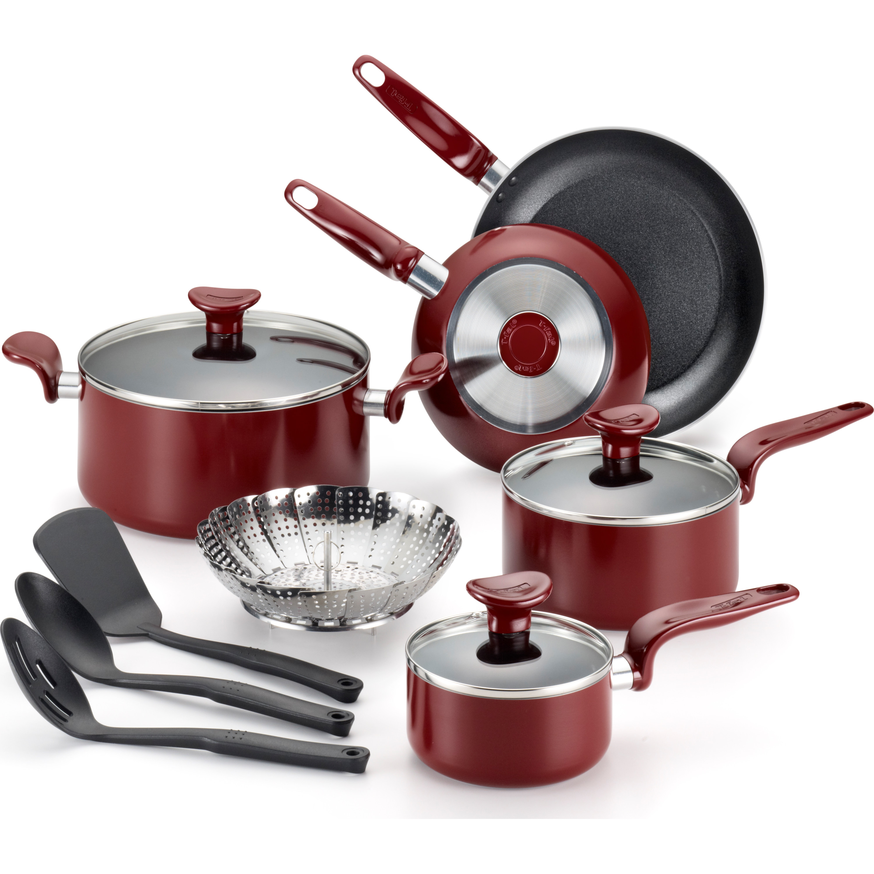 T-Fal Enjoy Nonstick 12-Piece Cookware Set, Red by T-FAL