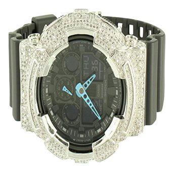 Black Onyx Bezel - Aquamarine Hands Onyx Black 2 Bezel Combo G Shock GA100C Multi Time Zone Watch