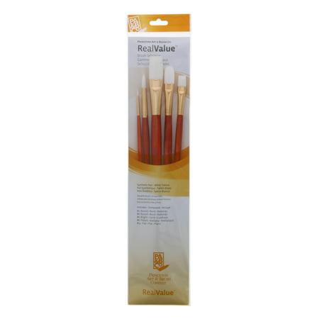 - Princeton Brush Real Value 5-Brush White Taklon Brush Set, Round 1, 6, Bright 6, Filbert 8, Flat 12 (LH)