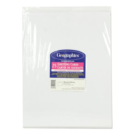 Geographics Greeting Cards - Geographics 25ct Blank White 8.5-in x 11-in Greeting Cards with Envelopes